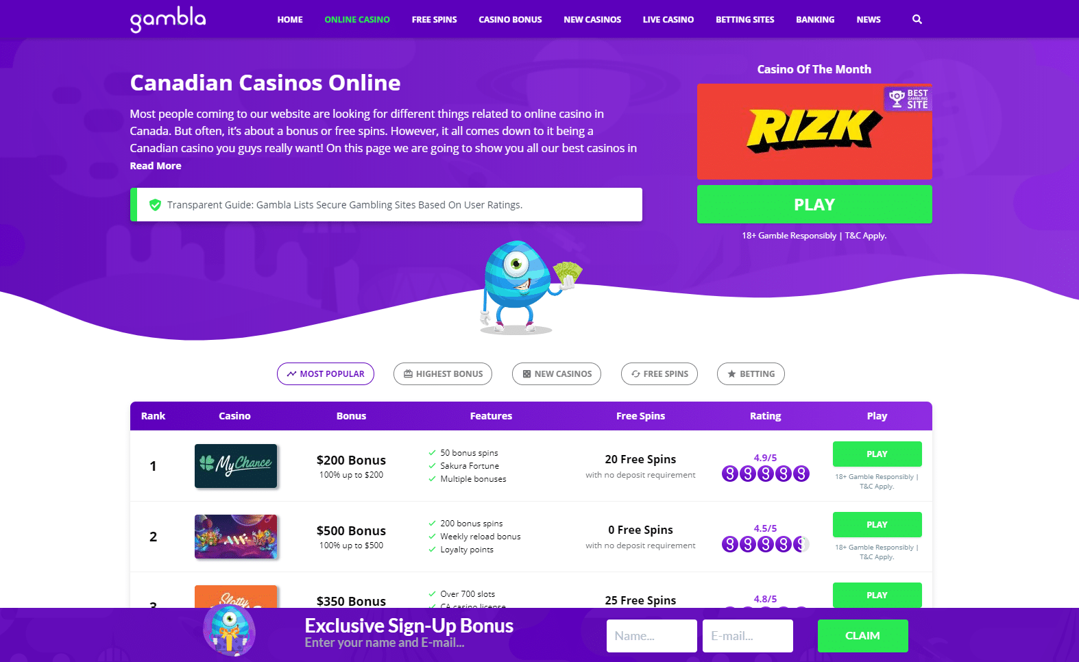 screenshot of the casino page at Gambla Canada